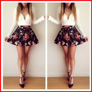 Autumn V Explosion Models Floral Mini Dress! 0421
