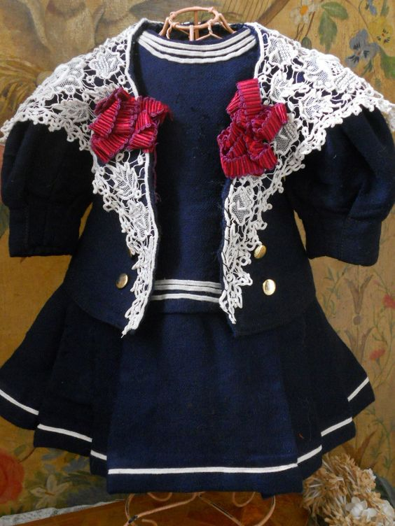 Beautiful Authentic 19th Century Doll S Sailor Dress