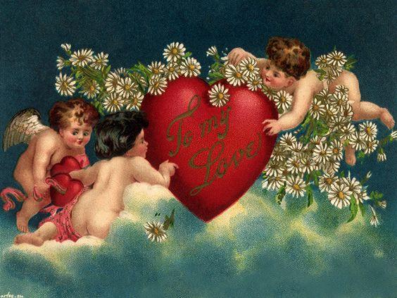 Скачать обои  День святого Валентина, ангелы, сердце 1600x1200