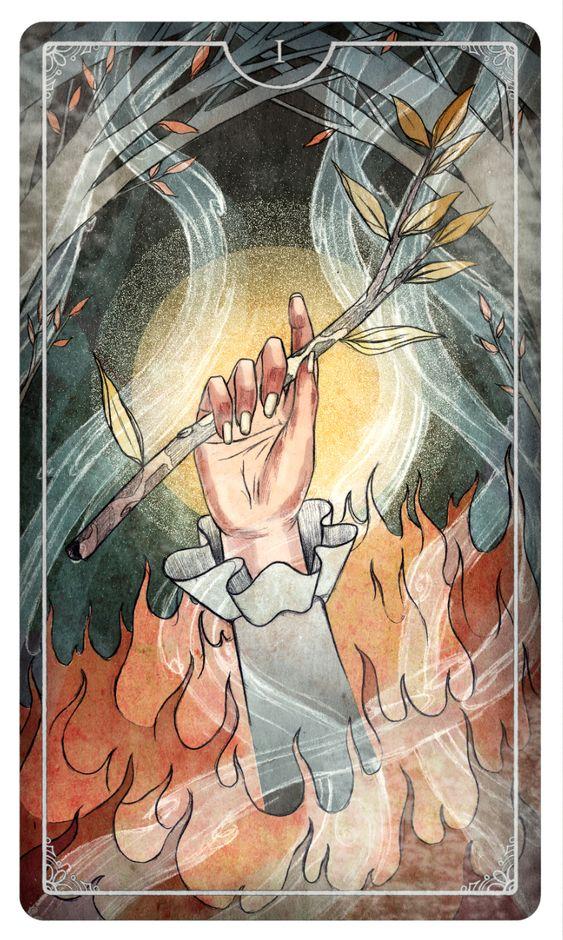 Ace of Wands - Julia Iredale For the upcoming Ostara Tarot Deck #tarotdeck #tarot #tarotcard #ostaratarot