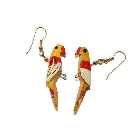 Vintage Wooden Bird Earrings /// Hand Painted