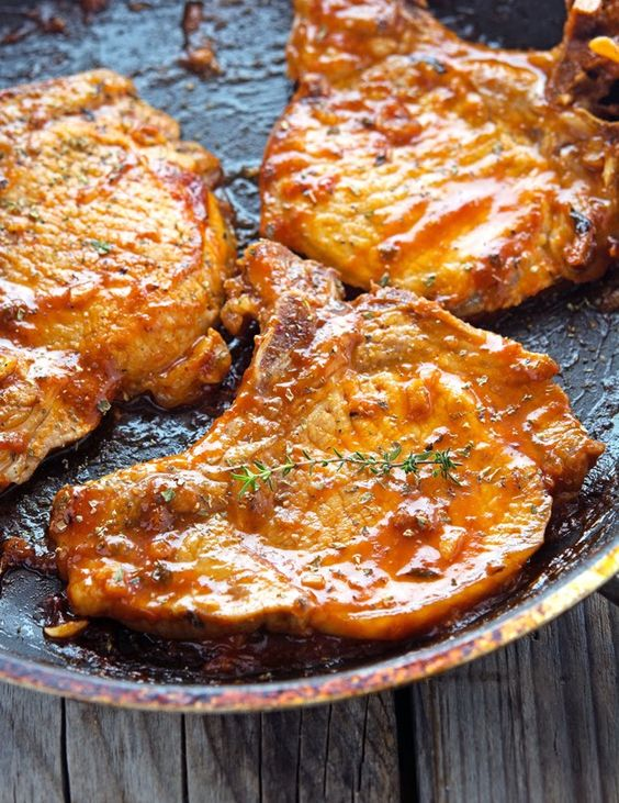 Honey Garlic Glazed Pork Chops | ½ cup / 4.2 oz / 120 gr ketchup (make your own paleo ketchup with this recipe) 5 tablespoons honey (I like to use raw organic honey) 4 tablespoons soy sauce (I like to use organic wheat-free soy sauce or coconut aminos) 2 garlic cloves, minced 6 (4 oz / 113 gr) organic pork chops Salt and pepper to taste
