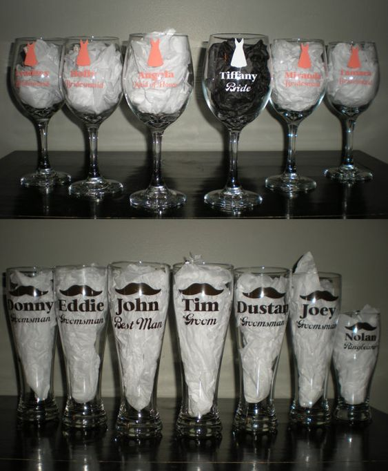 Wedding Party Wine Beer Glasses Set Bridal Gift