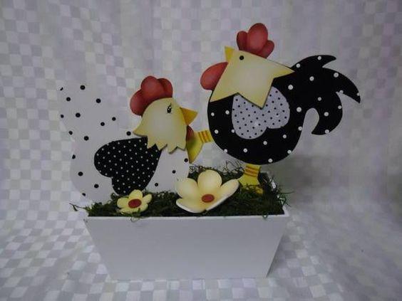 Floreira casal galo e galinha em mdf | Artesanatos Ingrid Carvalho | 16FF79 - Elo7