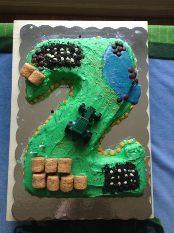 Birthday cake I made for my son's 2nd birthday- a tractor themed party :)