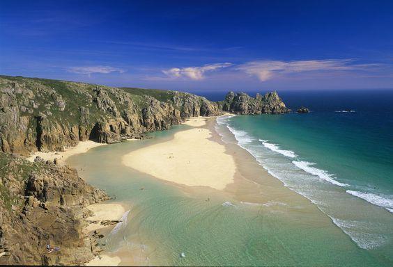 Pednevounder beach, Cornwall. On low tide this sandbar and lagoon appear.