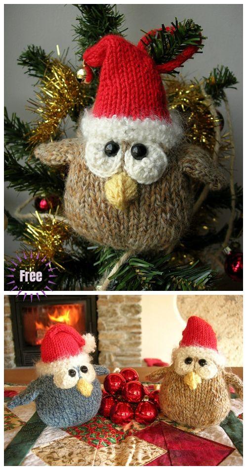Christmas Knit Owl Ornaments Free Knitting Patterns Christmas Knitting Patterns Free Knitted Christmas Decorations Knit Christmas Ornaments