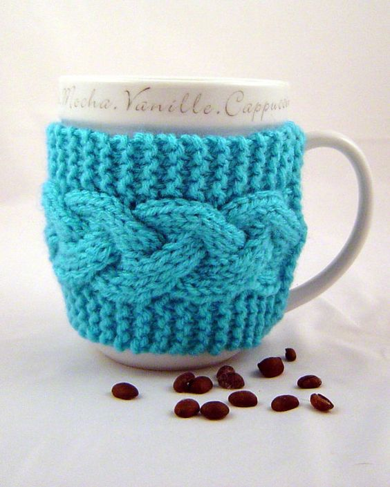 Turquoise Hand Knit Coffee Mug Cozy Cable Stitch Mug Cozy, Mugs
