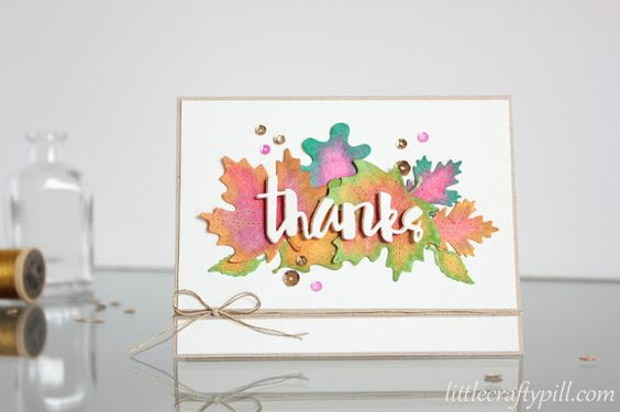 Watercolor leaves: a Thank you card