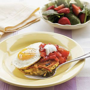 Zucchini-Potato Pancakes with Eggs Recipe - Something new to try with all those lovely garden zucchini!