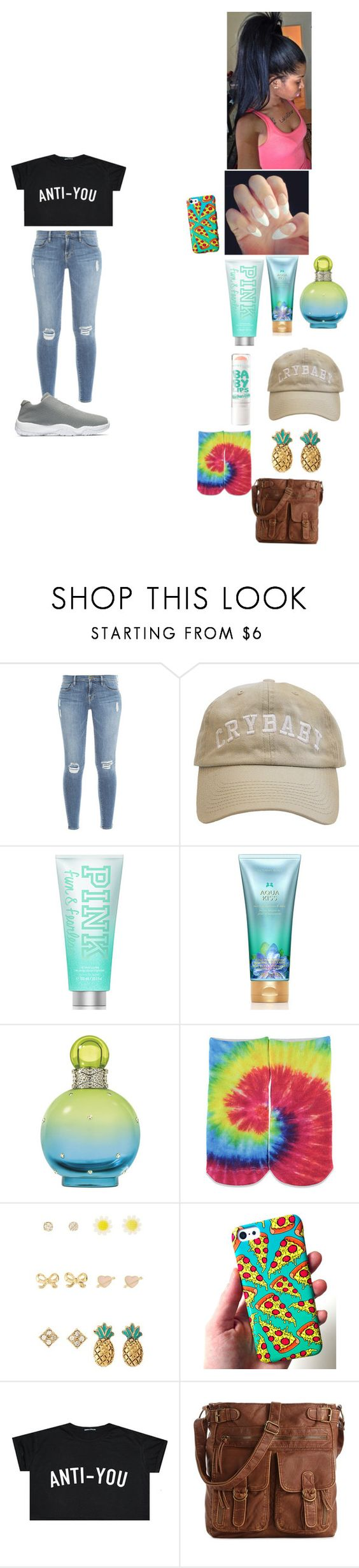 """""""~ S O U L ~"""" by foodislyfe ❤ liked on Polyvore featuring Frame Denim, Victoria's Secret PINK, Victoria's Secret, Britney Spears, Maybelline, Forever 21, Charlotte Russe and Mix No. 6"""