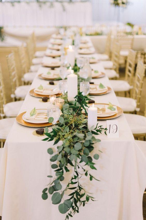 37 Romantic Greenery Wedding Centerpieces For 2020 Weddinginclude Gold Wedding Centerpieces Greenery Wedding Centerpieces Wedding Table Decorations