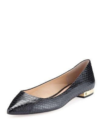 Tory Burch snake embossed black pointed toe flat with gold heel ...