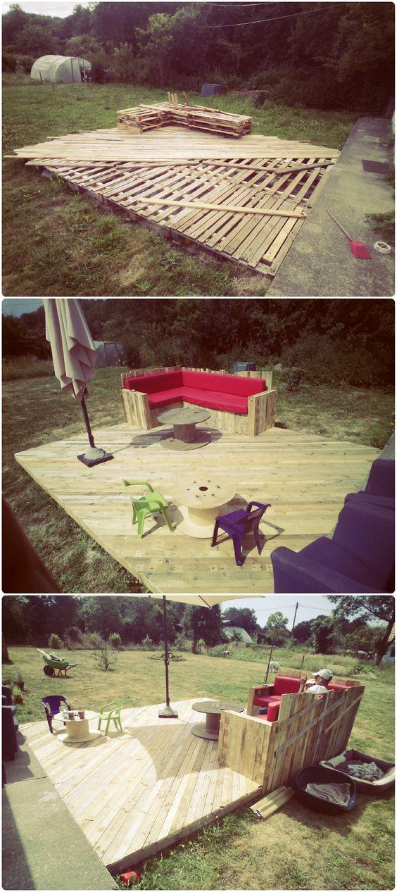 Complete pallet terrace pallet ideas dance floors for Diy terrace