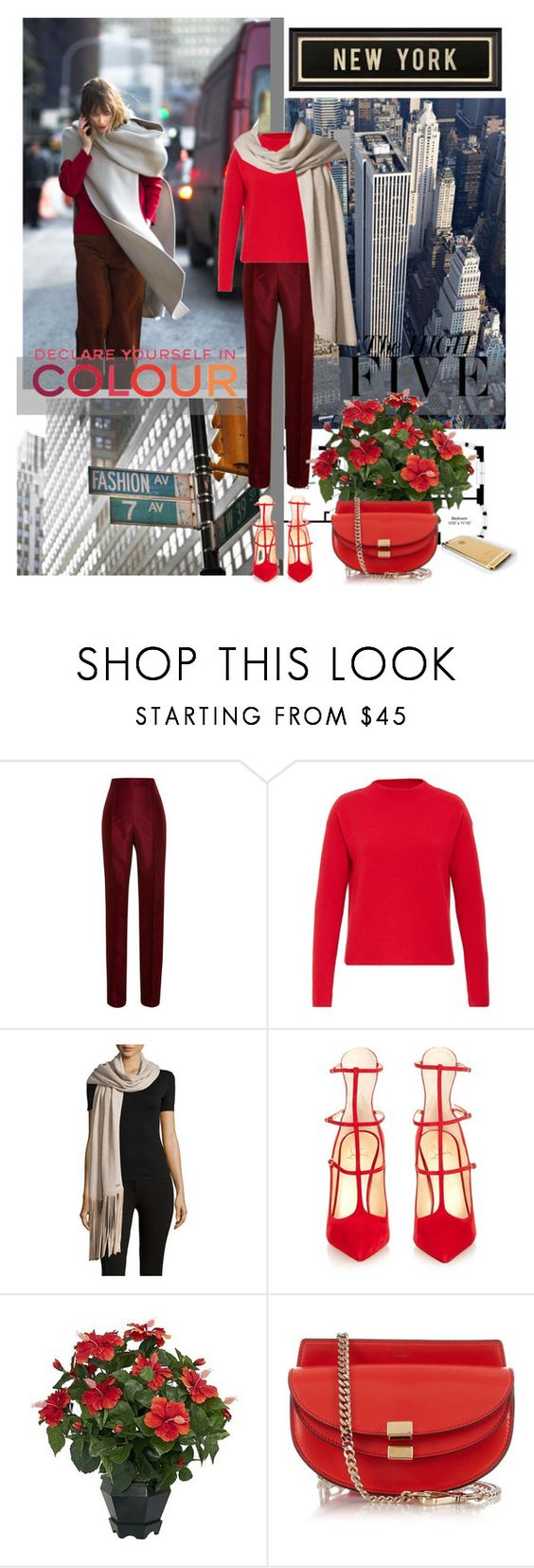 """""""Streets Of Color"""" by jacque-reid ❤ liked on Polyvore featuring Lacava, Rosie Assoulin, Hallhuber, Armani Collezioni, Christian Louboutin, Nearly Natural, Chloé, Spicher and Company and Chanel"""