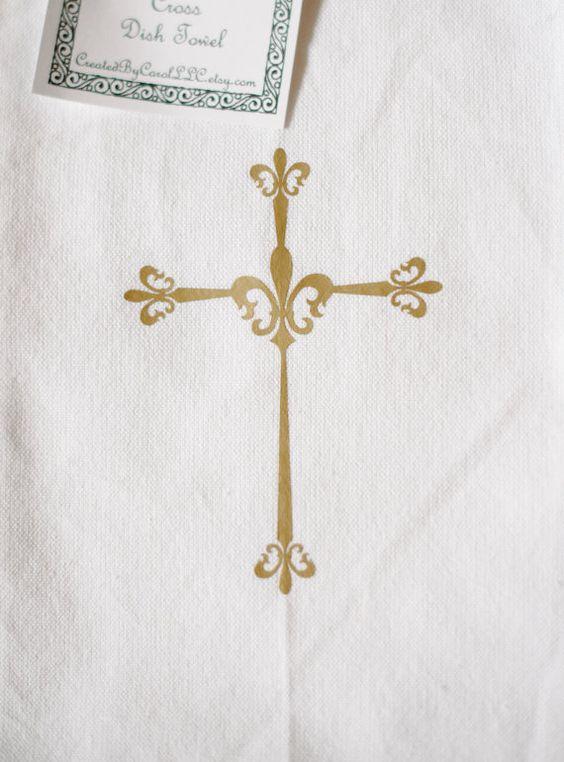 Fleur de Lis Cross Dish Towel