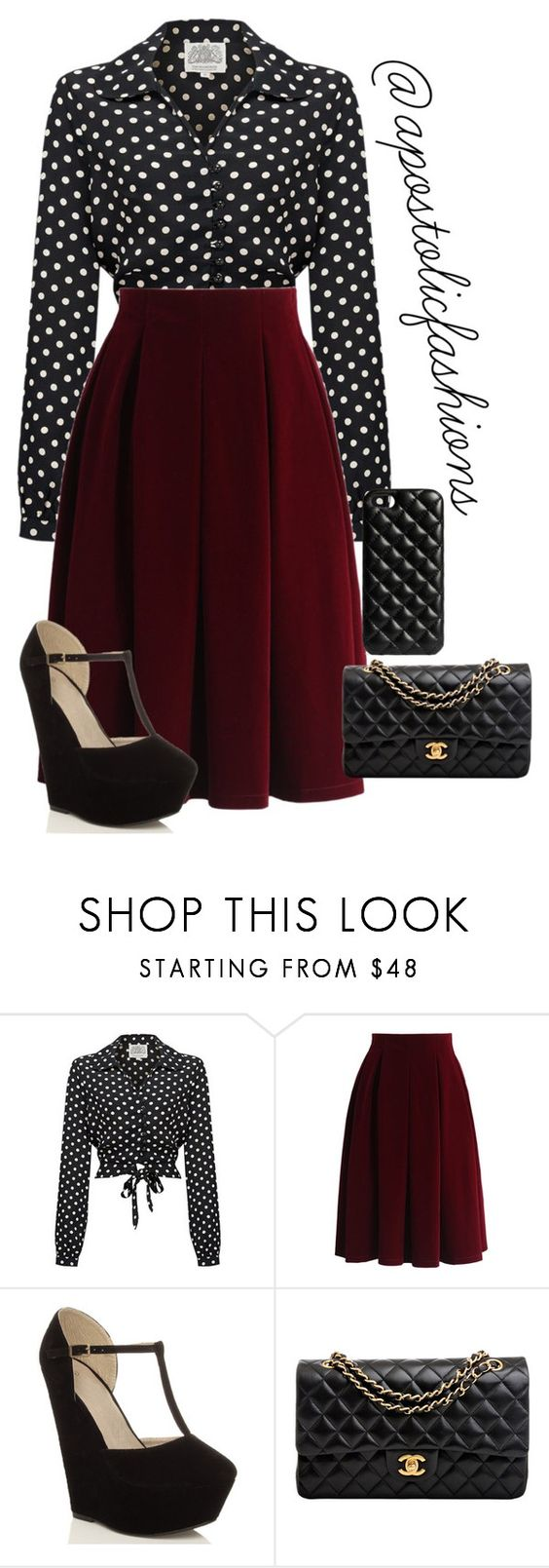 """Apostolic Fashions #1332"" by apostolicfashions ❤ liked on Polyvore featuring Chicwish, Chanel, The Case Factory, modestlykay and modestlywhit"