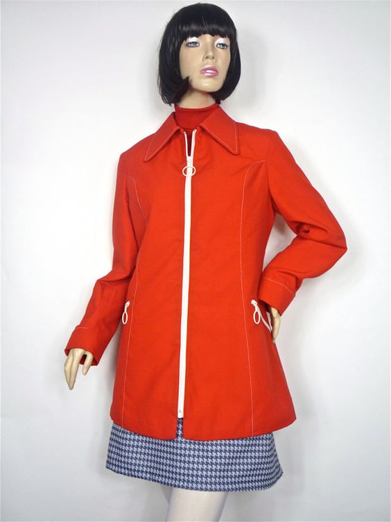 Bright red MOD zip up Coat with original ring pulls