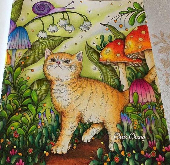 Inspirational Coloring Pages by Chris Cheng @colorvscolour #inspiração #coloringbooks #livrosdecolorir #jardimsecreto #dagdrömmar #secretgarden #blomstermandala #reinoanimal #animalkingdom #adultcoloring #cat