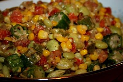 Southern Summer Succotash - Basic lima bean and corn succotash gets a boost from summer bounty with the addition of sweet Vidalia onions, fresh tomatoes, bell pepper, okra and some smoked meat.