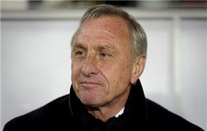 Dutch Johan Cruyff looks on during a friendly football match between Catalonia National Team and Tunisia National Team at Lluis Companys Olympic stadium in Barcelona on December 30, 2011.