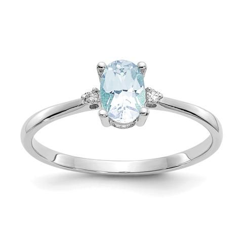 925 Sterling Silver Blue Aquamarine Band Ring Size 6.00 Birthstone March