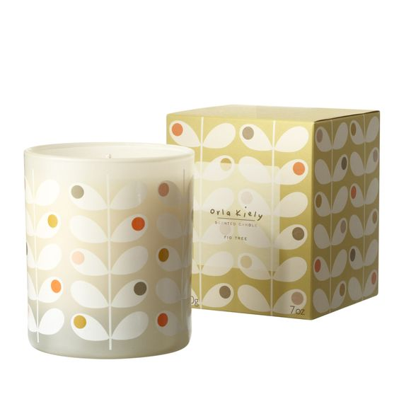 i am obsessed with this scent. // Orla Kiely: Bringing together all the elements of fig; from the leaf, the fruit and the wood, to create a scent that is both refreshing and enriching, with an earthiness that captures the essence of nature.The citrus top notes entwine with herbal lavender, which when combined with the fig and woody balsamic base, releases a distinctive, uplifting aroma.    Made of 100% vegetal wax, this candle is presented in an elegant cream glass holder adorned with our…
