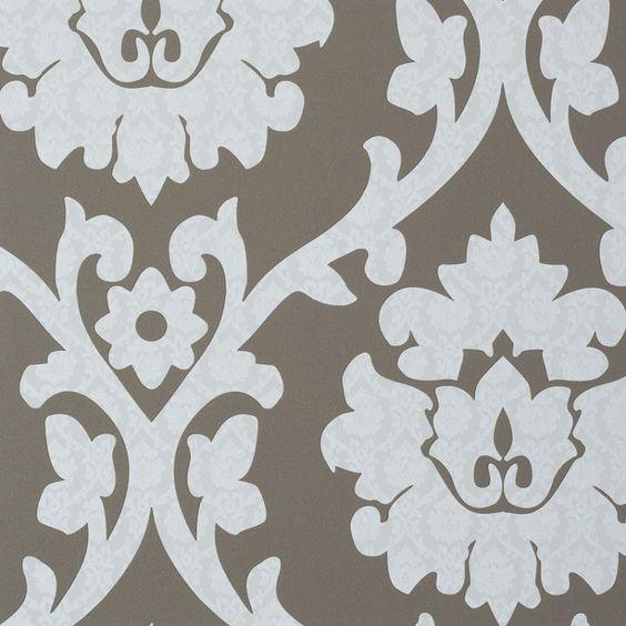 Behang bruin, ornament crème glans 45940 - VOCA