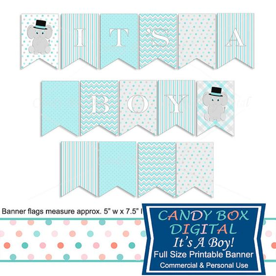 It's a Boy Baby Elephant Banner by CandyBoxDigital. Great for baby showers! At…