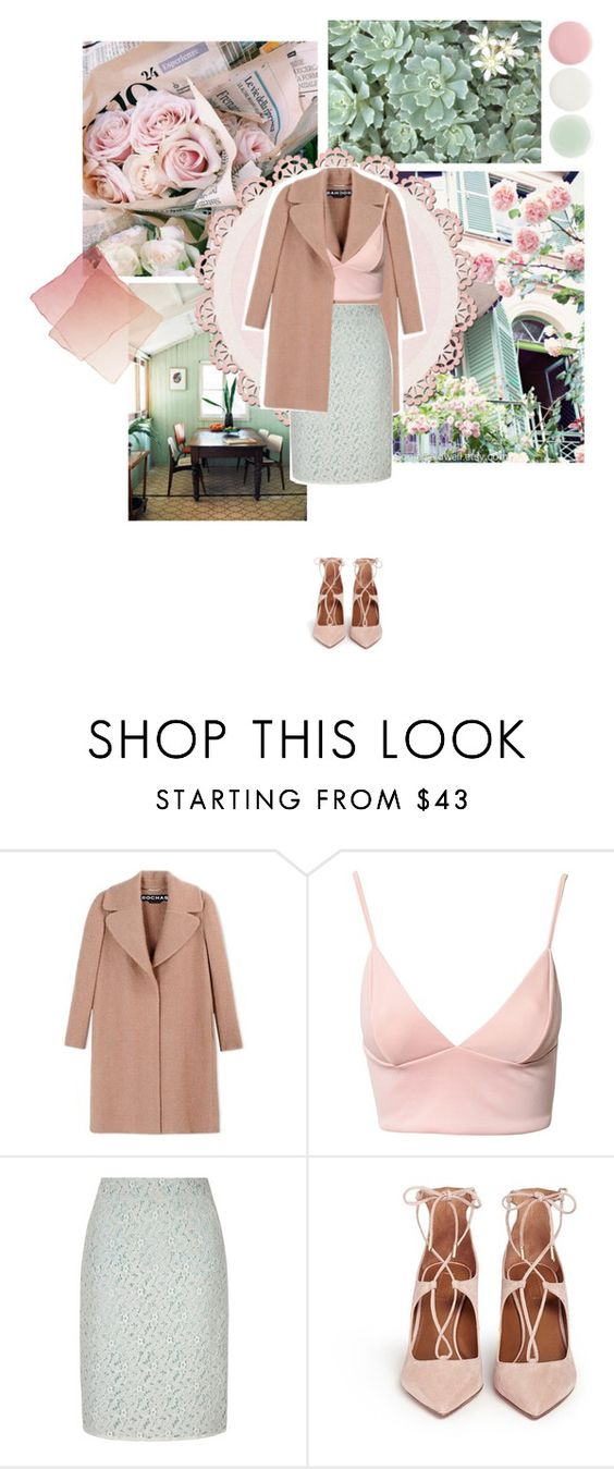 """""""I Never Should've Told You"""" by asherose ❤ liked on Polyvore featuring Rochas, Dark Pink, Yumi, Aquazzura, Nails Inc. and spring2016"""