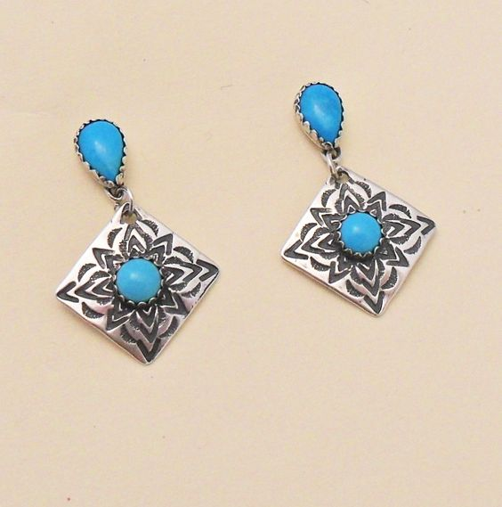 Blue Turquoise Sterling Silver Concho Earrings By E. Wentling. www.EagleDancerGallery.com