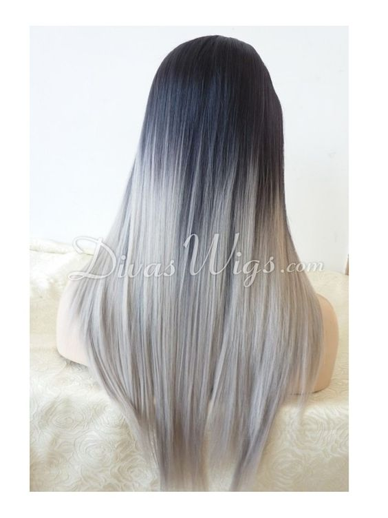 """24"""" Grey Ombre Straight Synthetic Lace Wig-sy092"""