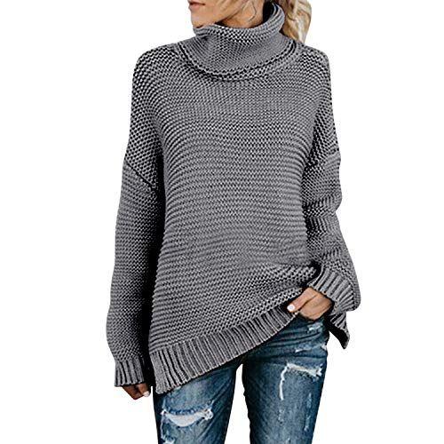 Damen Rollkragen Pullover Strickpullover Grobstrick