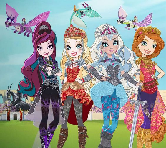 Ever After High Dragon Games Raven Queen, Apple White, Darling Charming & Holly O'hair