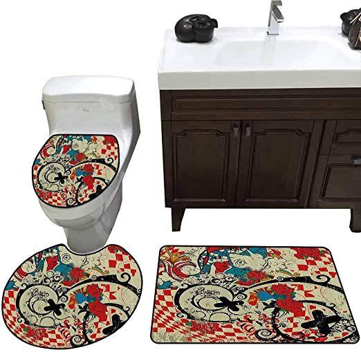 Red Flower Art White Shower Curtain Bath Mat Toilet Cover Rug Bathroom Decor