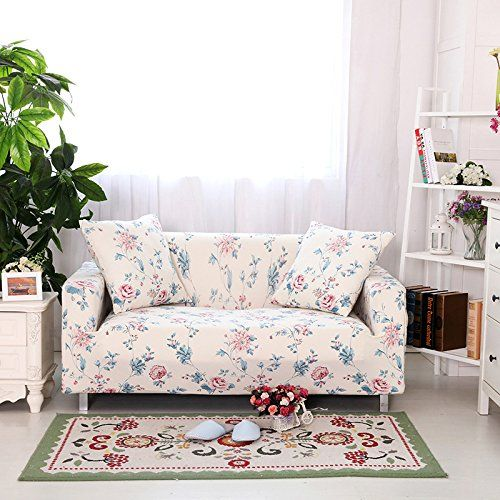 Yiwant Sofa Slipcover Protector Cover Flower Printed Polyester Spande