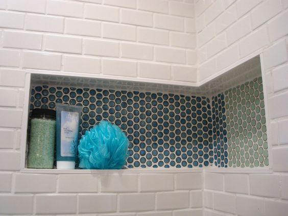 mid century bathroom tile | ... sleek industrial style sparkle against the classic white subway tiles