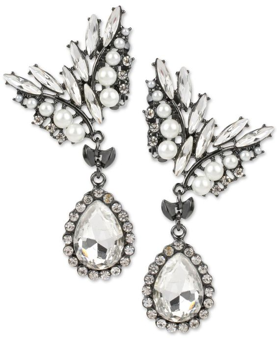 M. Haskell Hematite-Tone Faceted Stone and Imitation Pearl Clip-On Earrings