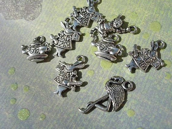 8   Mixed  Alice in  Wonderland Charm Drops  - White Rabbit CHESHIRE Cat D.I.Y.  TeaPot Silver finish