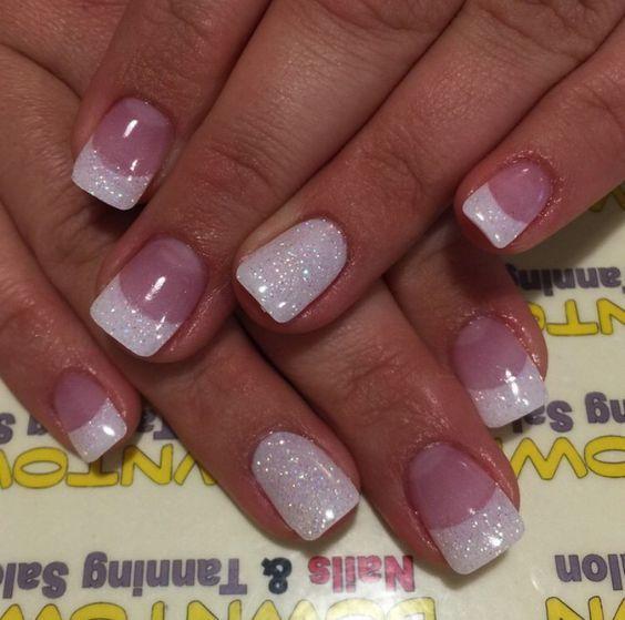 Glitter French Tips | Easy Wedding Nail Art Ideas for Short Nails