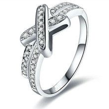 New Brand High Quality Classic Solid 925 Sterling Silver Women Wedding Cross Ring for Engagement Love Gift 18K Gold Plated