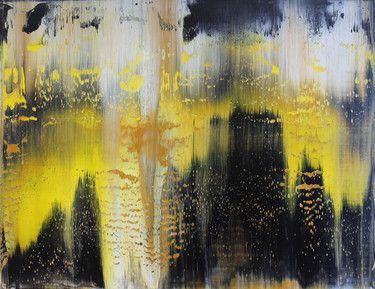 "Saatchi Art Artist Harry Moody; Painting, ""BlackYellowAbstractHorizen # 6"" #art"