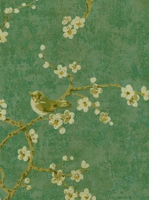 Wallpaper remnant 27 w x 31 gold birds tree asian for Wallpaper remnants