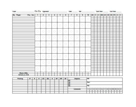 Baseball Scoresheet Template 24 baseball score sheet – Baseball Score Sheet Template