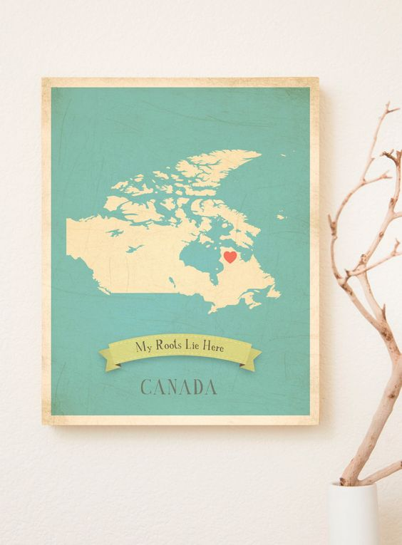 Canada Roots Map 11x14 Customized Print. $40.00, via Etsy.