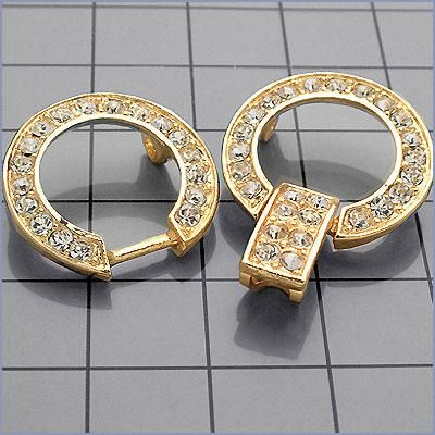 CRYSTAL CIRCLE 2-PIECE CLOSURE IN SILVER OR GOLD