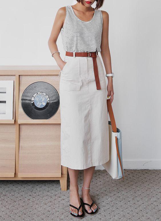 Aラインコットンミモレ丈スカート・全3色