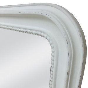 Miroir en bois bord perle patin style ancien blanc cass for Miroir blanc vieilli