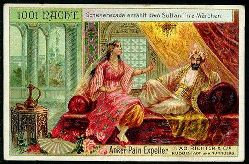 Anker Pain-Expeller // F. AD. Richter & Cie, Rudolstadt and Nurnberg // 1001 Nights // German trade card, c 1900