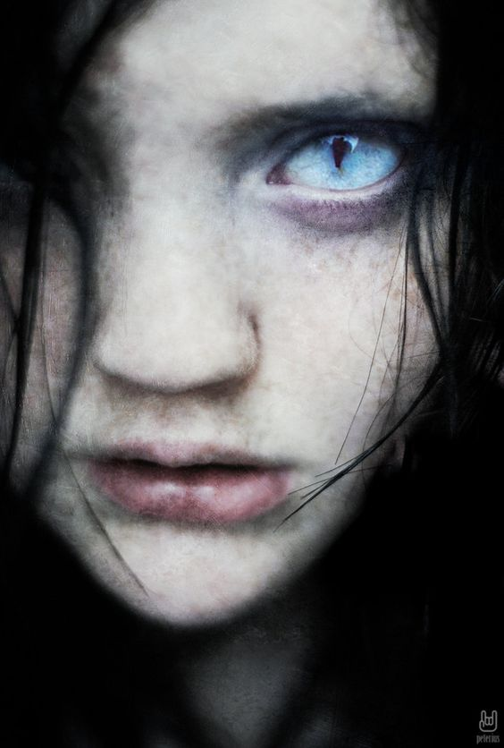 This reminds me a lot of the Shifters in Kyla's book, Caste. I can see this look just as she is about to shift (into a dragon of course). Her skin pales, lips slightly open, eyes already transitioning into the cat eyes characteristic of a shifter. Love how this teased my imagination!